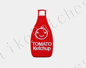 Tomato Ketchup Bottle Smiley Face Cute New Sew / Iron On Patch Embroidered Applique Size 3.6cm.x7.9cm.