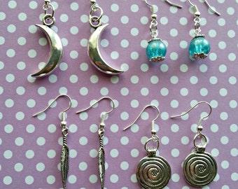 Charm earrings bundle, moon earrings, spiral earrings, feather earrings, lot, boho style, Australian, wicca jewelry, silver plated charms