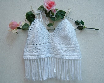 White crochet top-Top hippie chic cotton-Bra with fringes-Coachella-boho fashion-Top Top Beach-Made in Italy