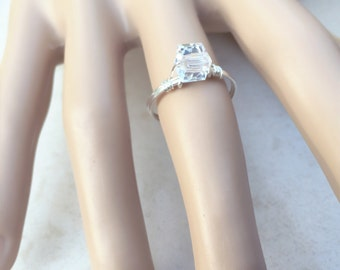 Engagement Ring, Silver Solitaire Ring, Bridal Ring, Classic Engagment Ring, Wedding Ring, Statement Ring, Silver Ring, Square Crystal Ring
