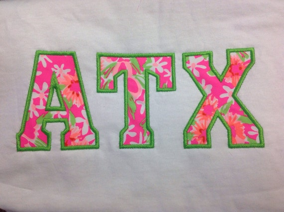 Comfort colors lilly pulitzer greek stitched by liljsboutique for Lilly pulitzer sorority letters