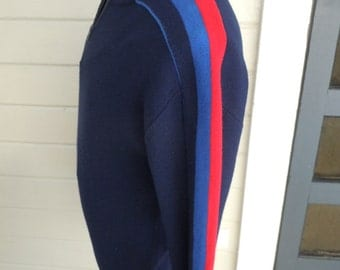 Size XL (48) ** 1970s Three Tone Blue Ski Sweater