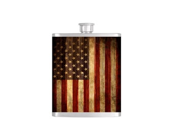USA Rustic American Flag Flask By Bottoms Up Flasks  - Stainless Steel 8 oz Liquor Hip Flasks - Flask #292