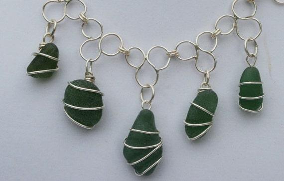 Trefoil Necklace (Olive) - Seaglass & Sterling Silver