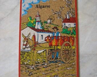 Vintage Used Portugese postcard 1980s cork postcard donkey and cart Algarve beach resort from Portugal stamped postmark SKU F