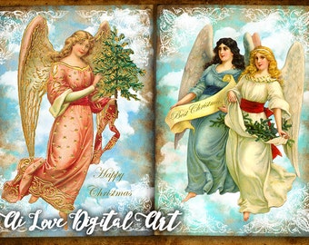 Christmas printables, Christmas Angels digital collage sheet, instant download card making, printable images, greeting cards, scrapbooking
