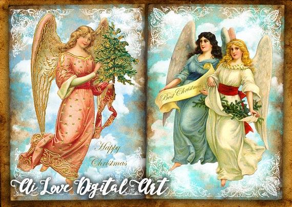 Angeli di natale immagini scaricabili collage digitale da for Immagini angeli da colorare