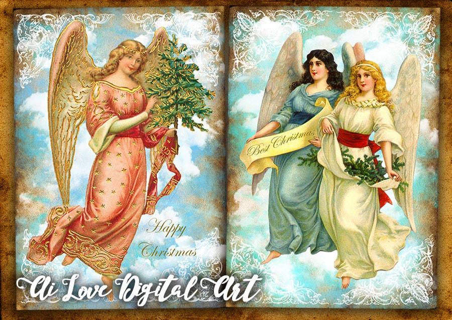 Angeli di natale immagini scaricabili collage digitale da for Immagini da colorare angeli