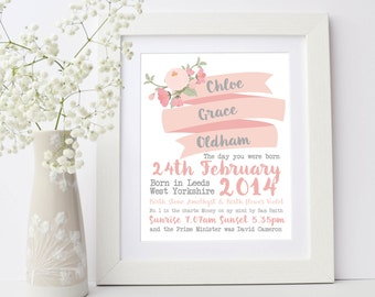 New Baby Gift, The Day You Were Born Birthday Details Framed Print, Christening Gift, Day you were born, Nursery Print