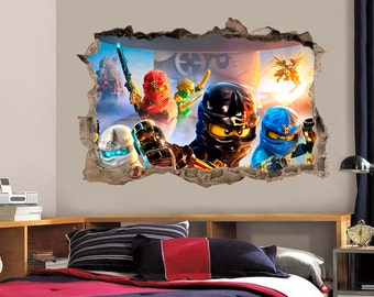 LEGO NINJAGO Smashed Wall 3D Decal Graphic Wall Sticker Mural H153