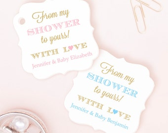 From my shower to yours tag (30) - Soap tags - Baby shower soap favors - Baby shower tags - Baby shower favor tags