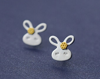 Sterling silver cute rabbit earrings, golden plated sleepy rabbit ear studs,925silver kawaii rabbit ear studs,unique gifts,lively and vivid.