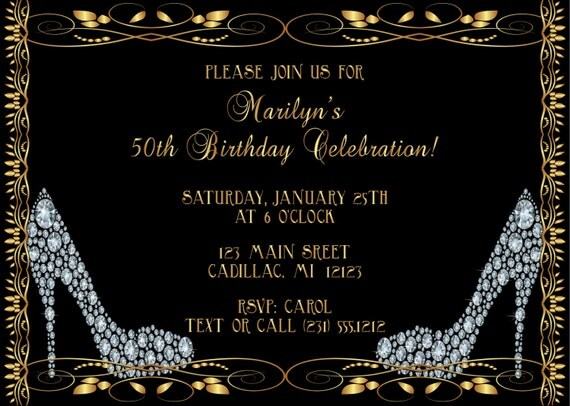 diamond shoes adult birthday invitation adult birthday party, Birthday invitations