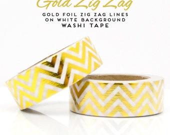 Gold Foil Zig Zag Lines on White Background Washi Tape