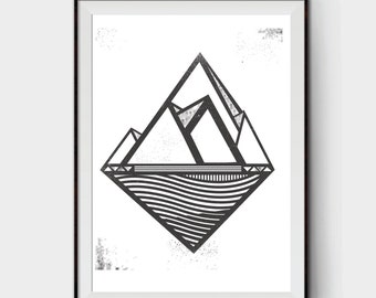 Mountain water - One Color Screen print