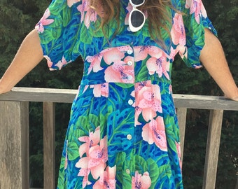 Vtg 80s Hawaiian Print Dress ~ Midi Length Buttoned Dress ~ Sz Small