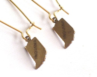 Brass INDIANA Earrings, Small Brass Indiana State Charm Earrings, Indiana Charm, Indiana Jewelry, Gift for Friend, State Earrings
