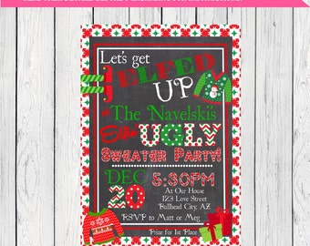 Elfed Up Ugly Sweater Party Invite - christmas or holiday party ***Digital File***  (Christmas-Uglyelf)