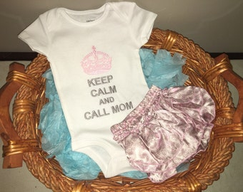 Keep Calm and Call Mom onesie and pink paisley ruffle bloomers