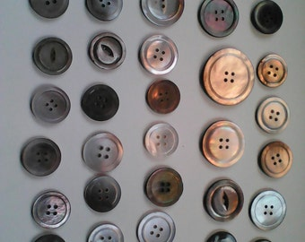 Vintage mother of pearl buttons  37 smokey grey