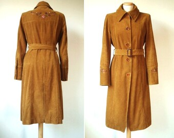 Spring SALE % 1970s Sienna Embroidered Belted Corduroy Long Trench Coat w/ Boho Floral Embroidery on Back & Cuffs > Women's Small S Medium M