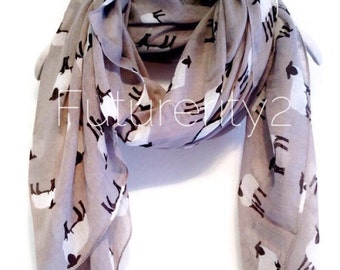Sheep Grey Spring Scarf / Summer Scarf / Gift For Her / Womens Scarves / Fashion Accessories
