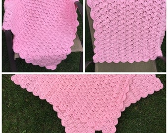 Pink Shell Crochet Baby Blanket