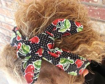 Punk rock rockabilly cherry retro headband