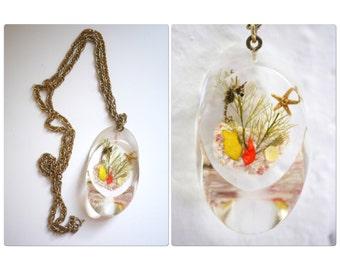 Lucite Pendant Long Necklace Seahorse Seashells Starfish
