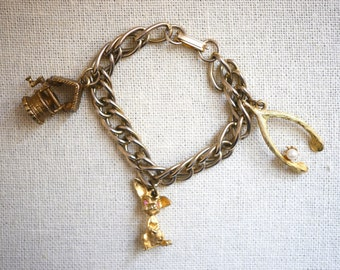 Good Luck Charm Bracelet wishbone, bunny rabbit, wishing well