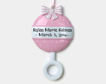 Baby Girl Rattle Personalized Ornament - Baby's First Christmas - Hand Personalized Christmas Ornament