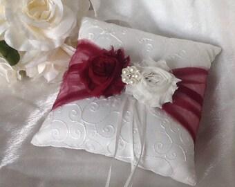 Ring Bearer Wedding Pillow White or Ivory CUSTOM COLORS Rhinestone Crystal Flower Pearls Wine Ivory & Flower ring pillow   Etsy pillowsntoast.com