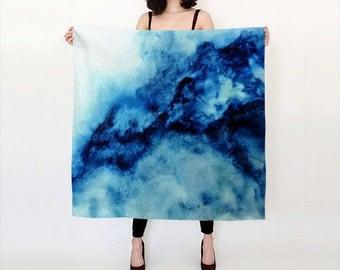Blue, Ocean inspired, Watercolor Silk Scarf, Original Abstract Watercolor,