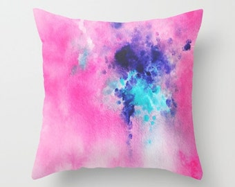 Decorative Pillow, Watercolor Pillow, Throw Pillows, Pillow Cover, Pink, Purple and Turquoise , Home Decor, Accent Pillow