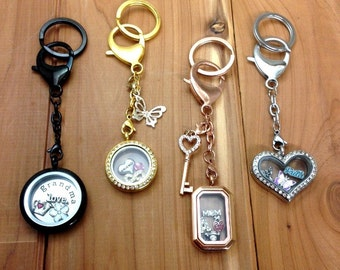Bag Clip & Key Chain connector for Memory Locket -- You choose your color Silver, Black, Rose Gold... works with Origami Owl