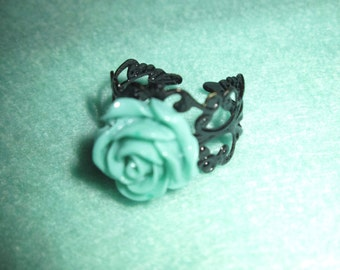 Mint Rose Ring with Filigree Base