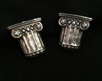 Column Earrings, Sterling Silver Post Earrings, Pillar