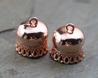 Rose Gold Plated Fancy  Bead Caps Tassel Caps for Chain or Bead String Projects - ROSEPLT008