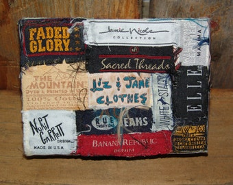 Handcrafted vintage collectible designer labels on storage box