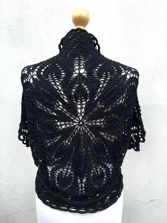 Hand Knitted Black Bolero, Black Bridesmaid bolero, black wedding bolero, knit  Bolero, Vest, Silk knit Bolero, black silk Bolero, black