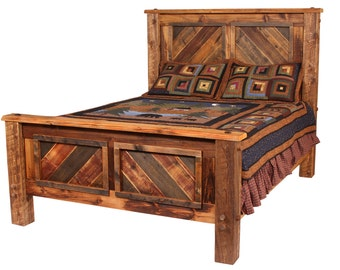 Buffalo Mountain Bed, Natural Barn Wood Bed, Rustic Bed, Rustic Furniture, Reclaimed Wood Bed