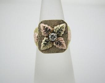 Unique Vintage Tri-Gold Diamond Ring in 10k Gold