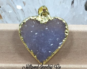 Druzy Heart Pendant, Heart Pendant, Druzy, Drusy, Gold Plated Pendant, Only One of Each Piece Available, Natural, Petite, PG1707B