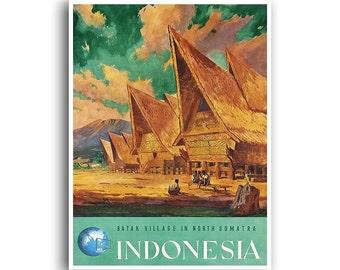 Indonesia Travel Poster Asian Home Decor Retro Wall Art Print (XR740)