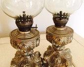 Gold Brass Oil Lamps, Vintage Oil Lamp, Kerosene Lamp, Made in Hong Kong