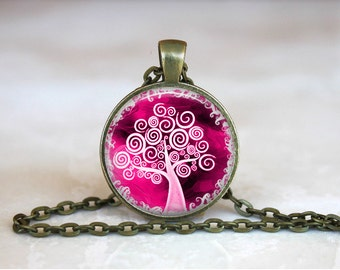 TREE Of LIFE Pendant •  Pink and White Tree •  Beautiful Yoga •  Circle of Life •  Bodhi Tree • Gift Under 20 • Made in Australia (P0413)