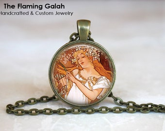 MUCHA Pendant •  Alphonse Mucha •  Mucha Art •  Art Nouveau •  Alphonse Mucha Jewelry •  Necklace /Key Ring •  Made in Australia •  (P0023)