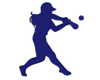 Softball Player Swinging a Bat Filled Machine Embroidery Digitized Design Pattern  - 4x4 , 5x7, 6x10 -hoops
