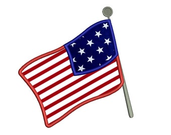 USA American Flag Applique Machine Embroidery Design Digitized Pattern Pattern