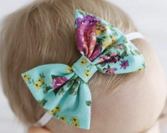 Aqua floral bow